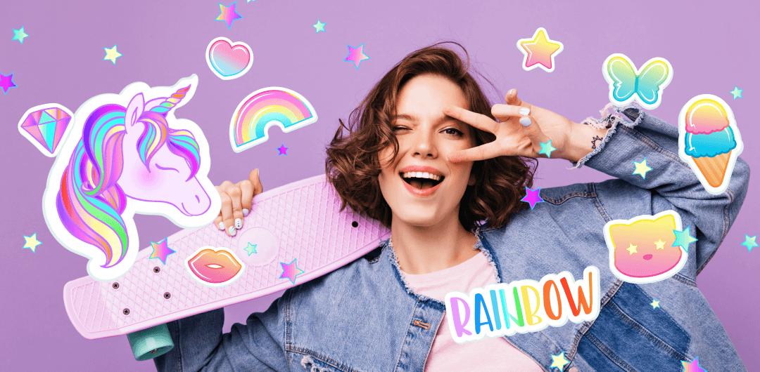 sticker: Cute Rainbow image