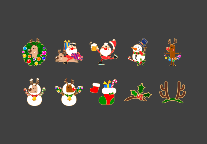 PhotoGrid Stickers Santa & Reindeer