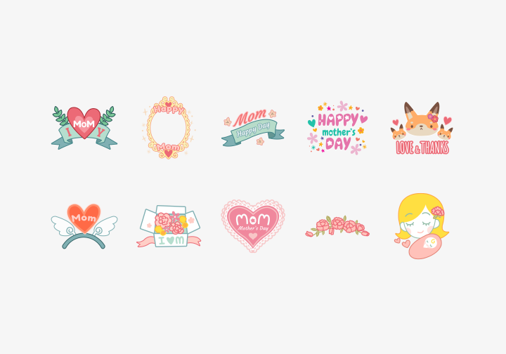 PhotoGrid Stickers Love Mom