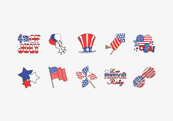 PhotoGrid Stickers 4th of July