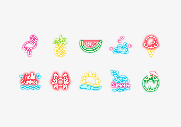 PhotoGrid Stickers Neon Summer
