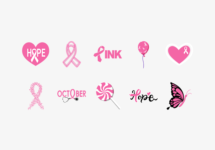 PhotoGrid Stickers Pink Ribbon