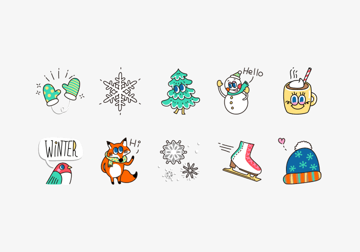PhotoGrid Stickers Warm Winter