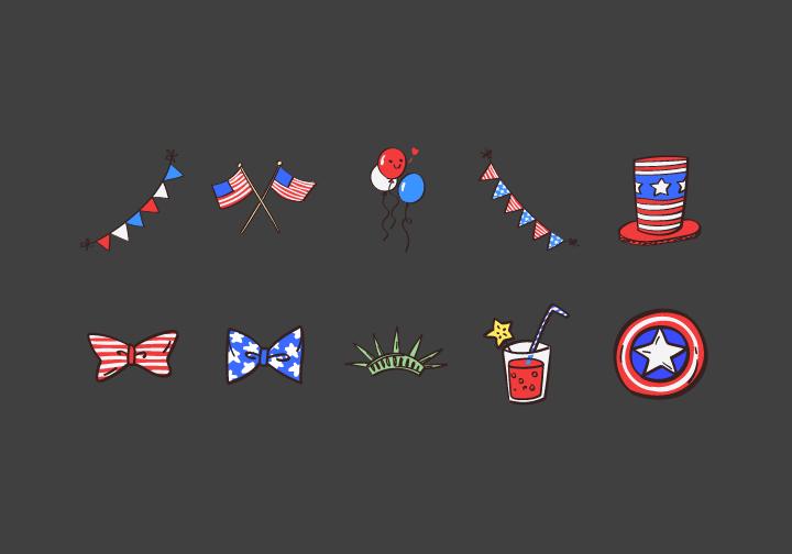 PhotoGrid Stickers Love USA