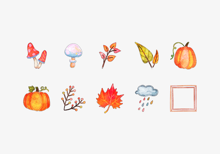 PhotoGrid Stickers Fall Leaves