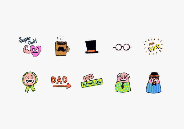 PhotoGrid Stickers Super Dad Sticker