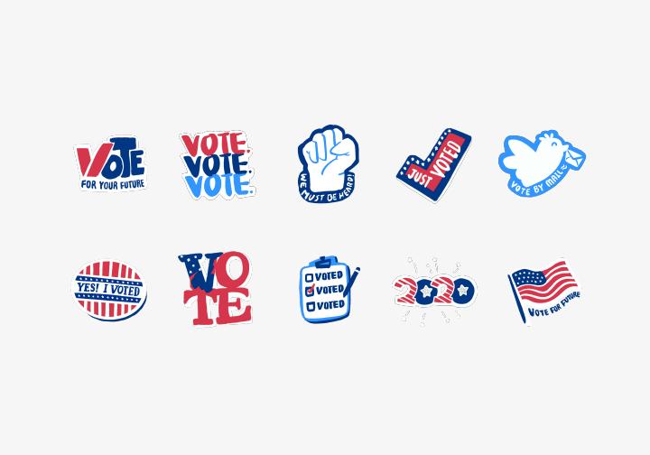 PhotoGrid Stickers Let's Vote