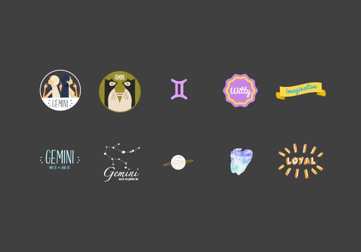 PhotoGrid Stickers Gemini & Taurus