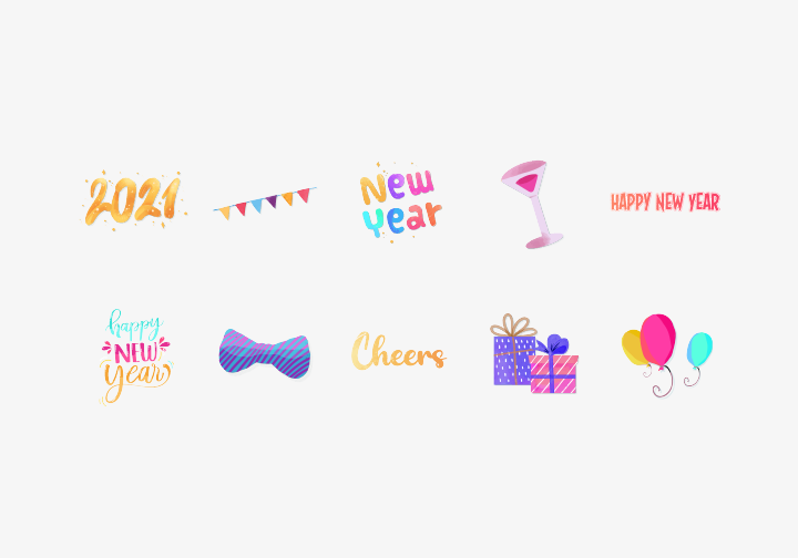 PhotoGrid Stickers New Year Cheers