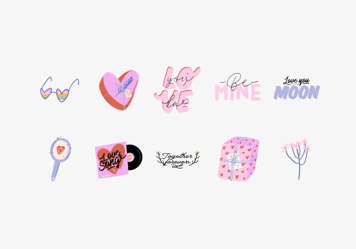 PhotoGrid Stickers Love Words