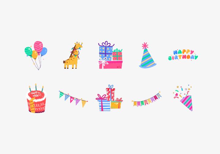 PhotoGrid Stickers Joyful Birthday
