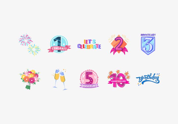 PhotoGrid Stickers Anniversary