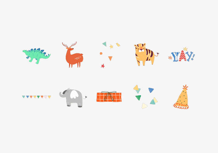 PhotoGrid Stickers Animal Party