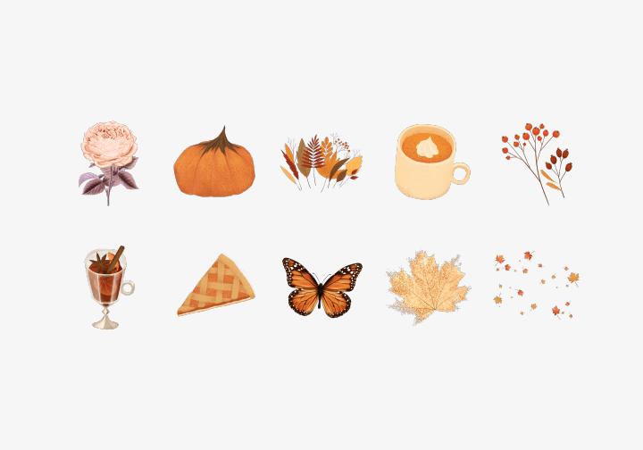 PhotoGrid Stickers Autumn Collage